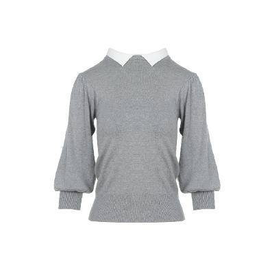 balloon sleeve collar knit top